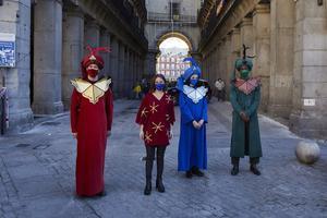Los pajes de los Reyes Magos en Madrid.