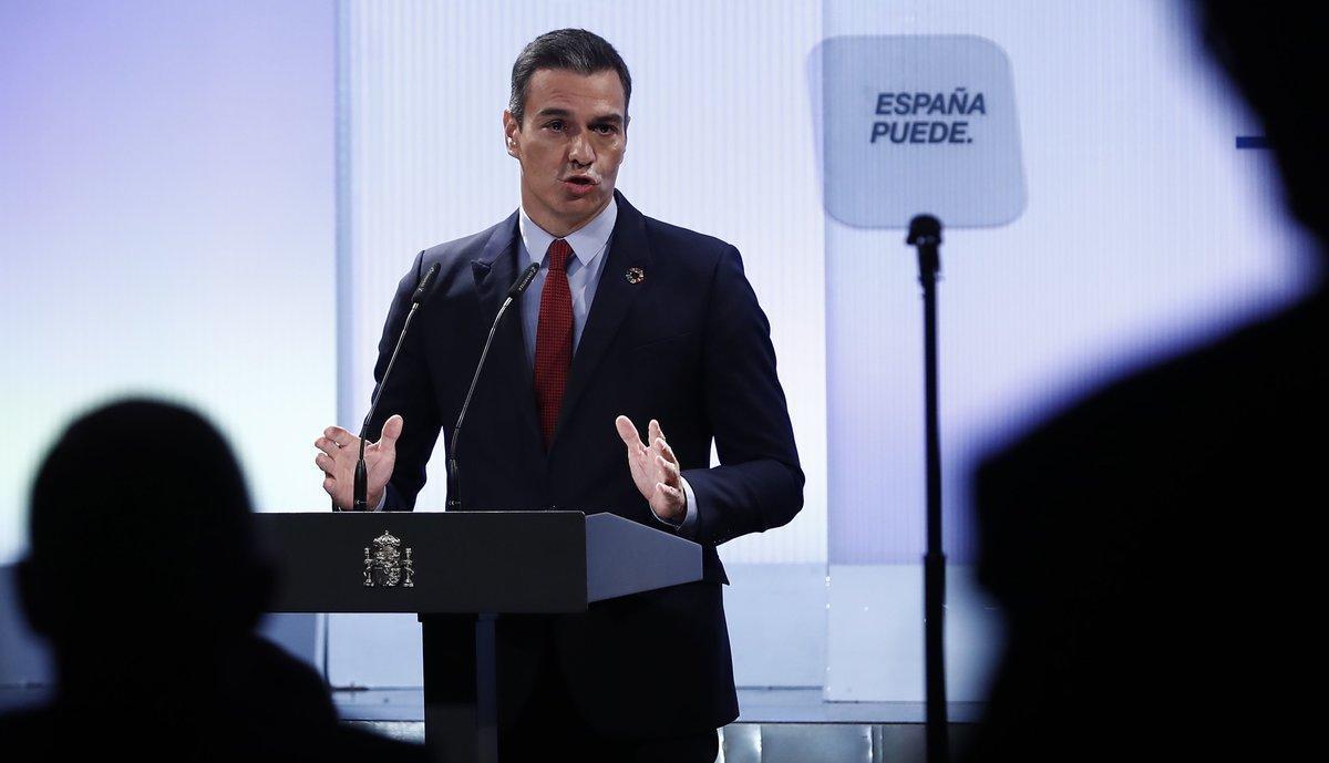 El presidente del Gobierno, Pedro Sánchez, durante la conferencia 'España puede', este 31 de agosto en la Casa de América de Madrid.