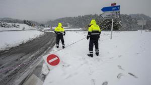 La carretera C-44, a la altura de Tivissa (Ribera de l'Ebre), cortada por el cúmulo de nieve.
