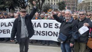 Manifestación de jubilados en Barcelona, el pasado mes de febrero.