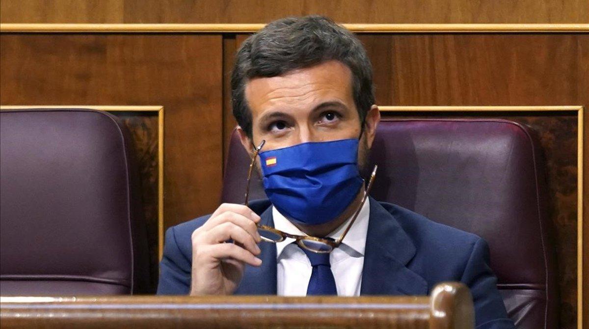 El líder del PP, Pablo Casado, este miércoles en el Congreso.