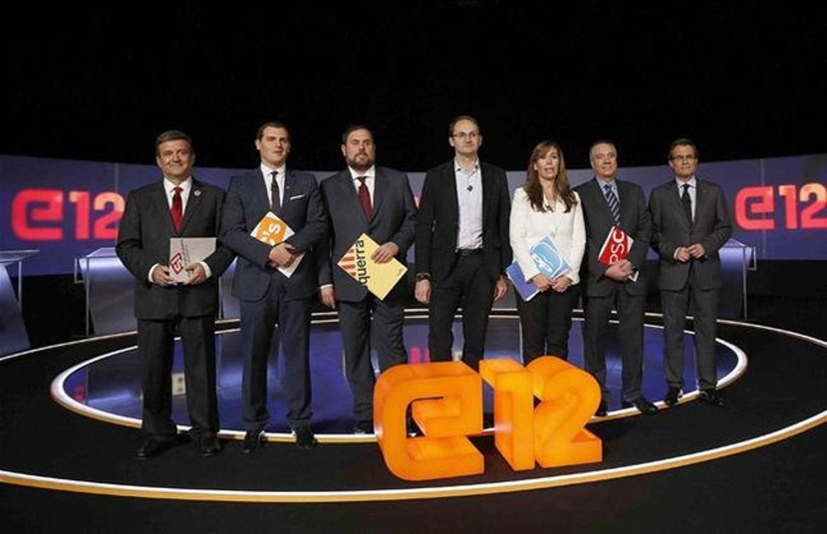 Los participantes en el debate electoral, en el plató de TV-3.