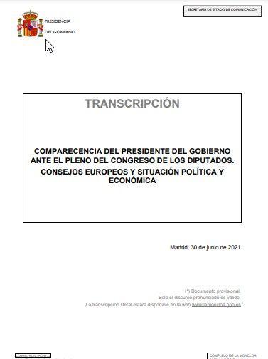 Transcripción del discurso del presidente del Gobierno, Pedro Sánchez, en el Congreso en defensa de los indultos (30/06/2021).