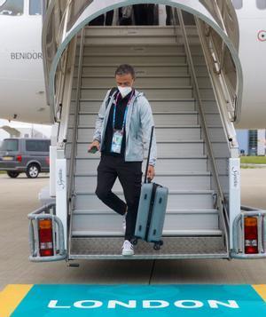 Luis Enrique, a su llegada a Londres.