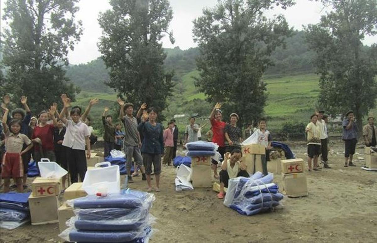 Danmificados de las inundaciones en Corea del Norte.