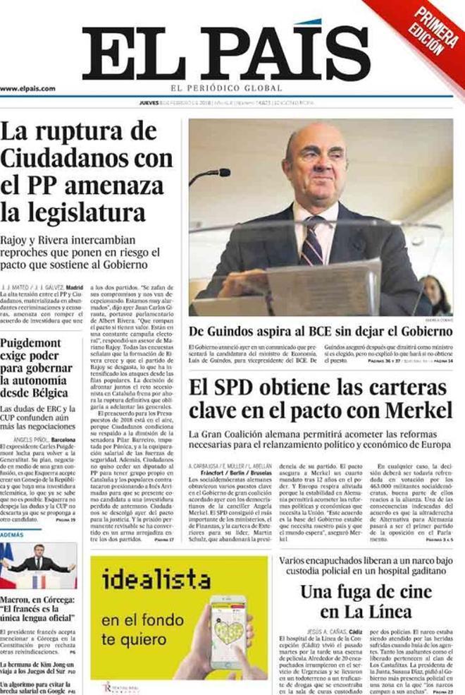 La ruptura de Ciutadans amb el PP amenaça la legislatura, afirma 'El País'