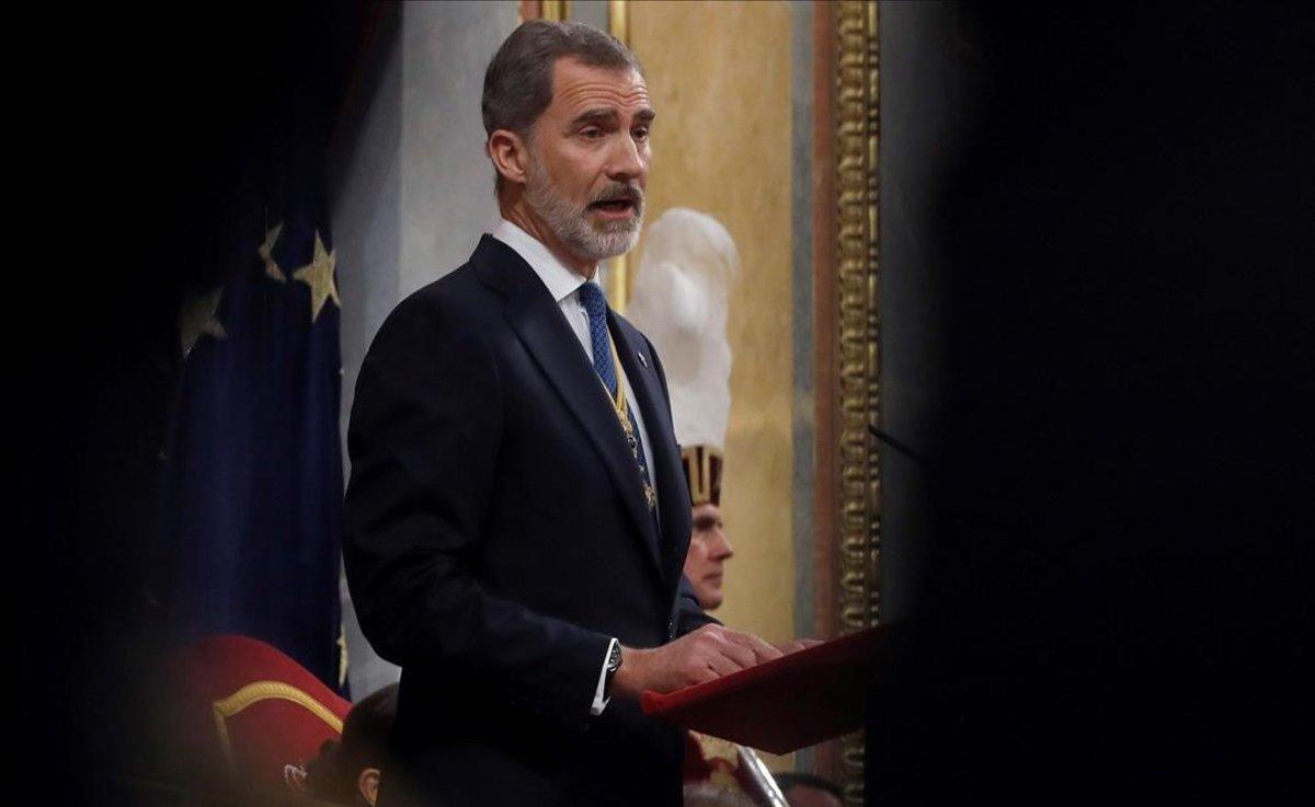 El rey Felipe VI, el pasado 3 de febrero, en el discurso de apertura de la XIV legislatura en el Congreso.