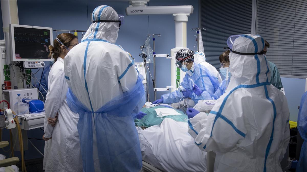Sanitarios atienden a un paciente en la uci del Hospital de Sant Pau de Barcelona.