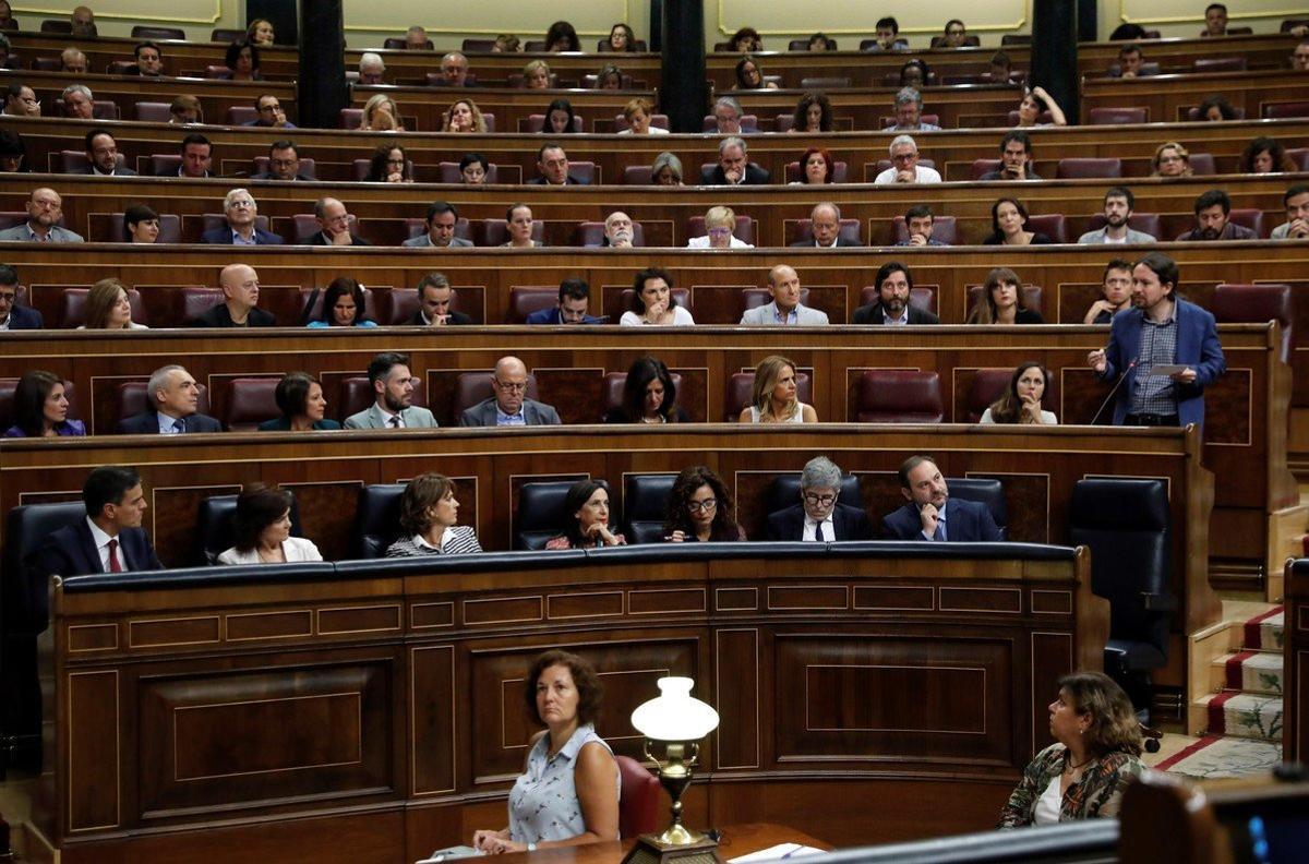 Bancada del partido de Unidas Podemos en el Congreso de los Diputados.