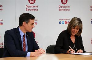 Pedro Sánchez y Núria Marín, el pasado febrero en Barcelona.