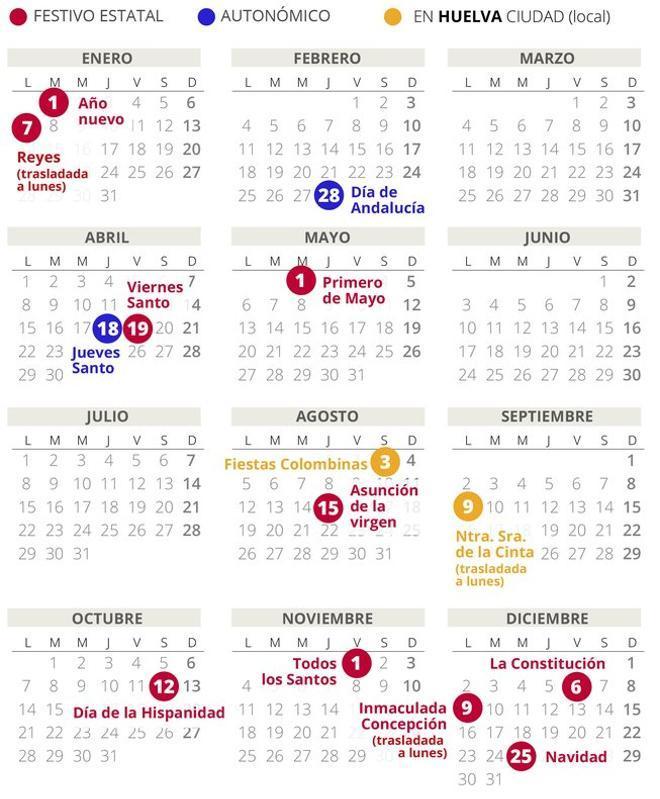Calendario laboral de Huelva del 2019 (con todos los festivos)