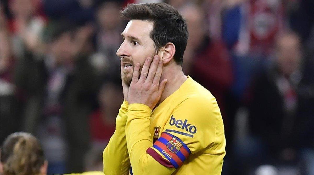 Leo Messi volvió a vivir y experimentar, en San Mamés, otra desesperante noche