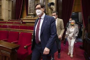 Salvador Illa, en el Parlament.