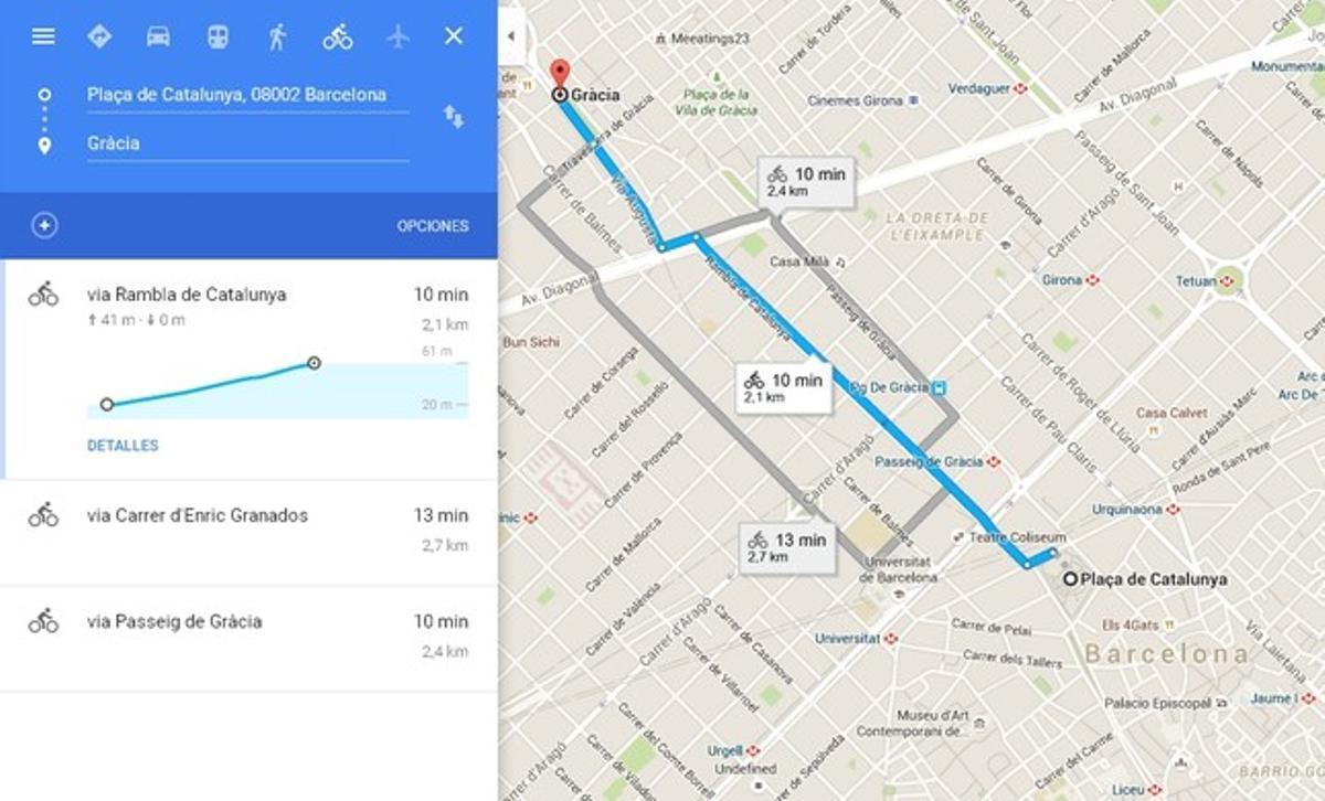 El planificador de rutas en bici de Google Maps.