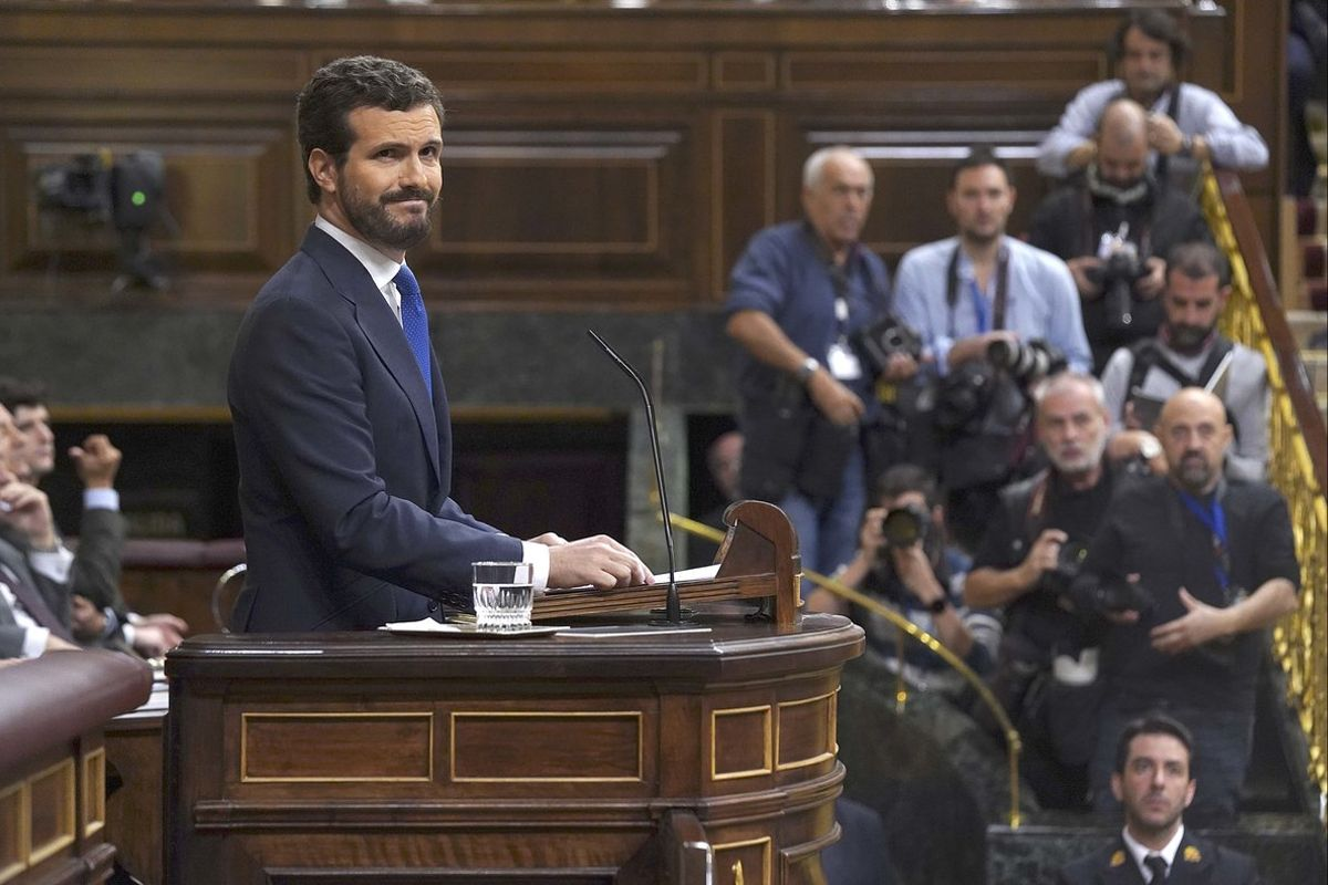 Pablo Casado, en la tribuna del Congreso de los Diputados.