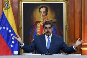 Maduro el pasado mes de febrero durante una rueda de prensa en el Palacio de Miraflores, en Caracas.