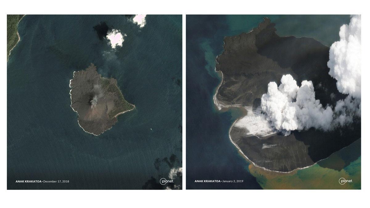 Imágenes del derrumbe del volcán indonesio Anak Krakatau que provocó el tsunami.