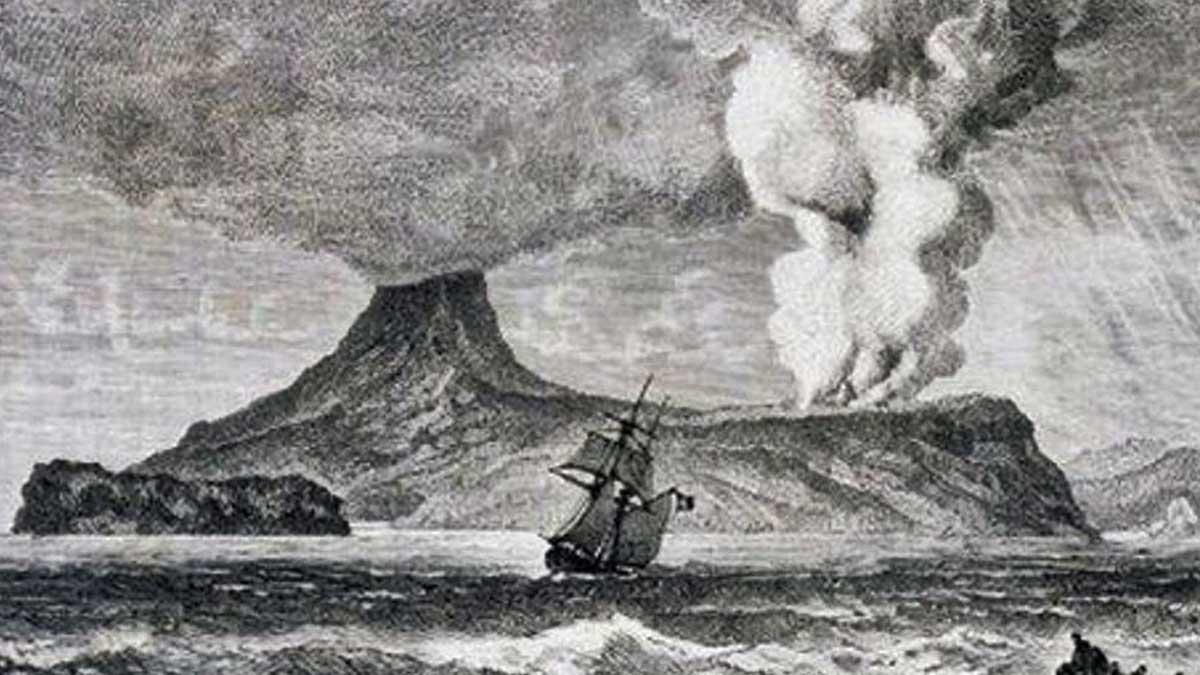 El Krakatoa en erupción. Imagen de la época.