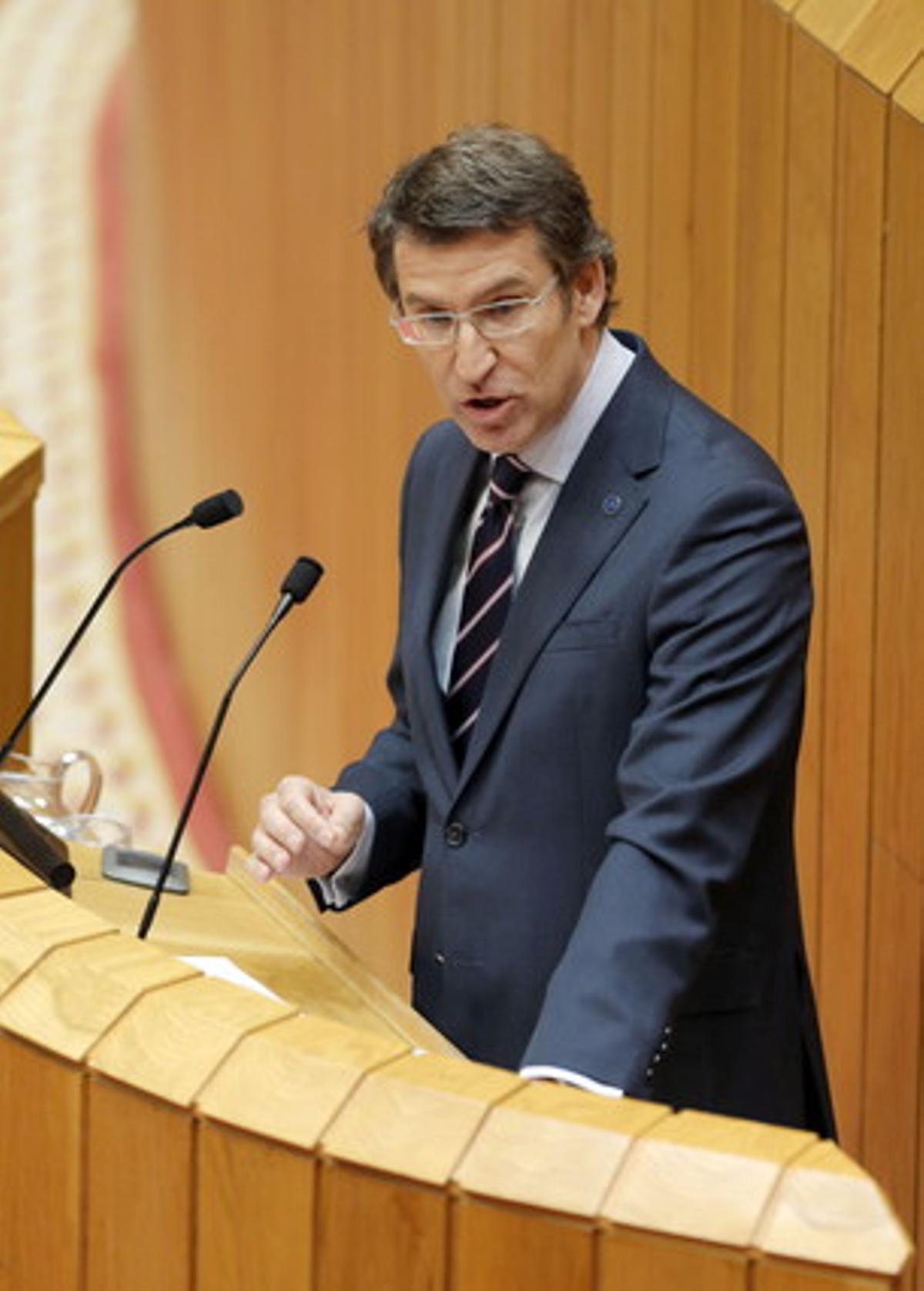 Feijóo, durante su comparecencia ante el Parlamento gallego, este miércoles.