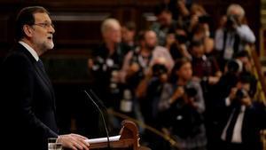 El presidente del Gobierno, Mariano Rajoy, en una reciente intervención en el Congreso