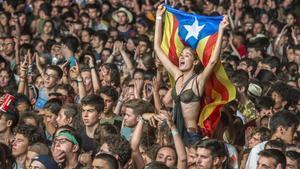 Público del Canet Rock durante el festival en el Pla d'en Sala.