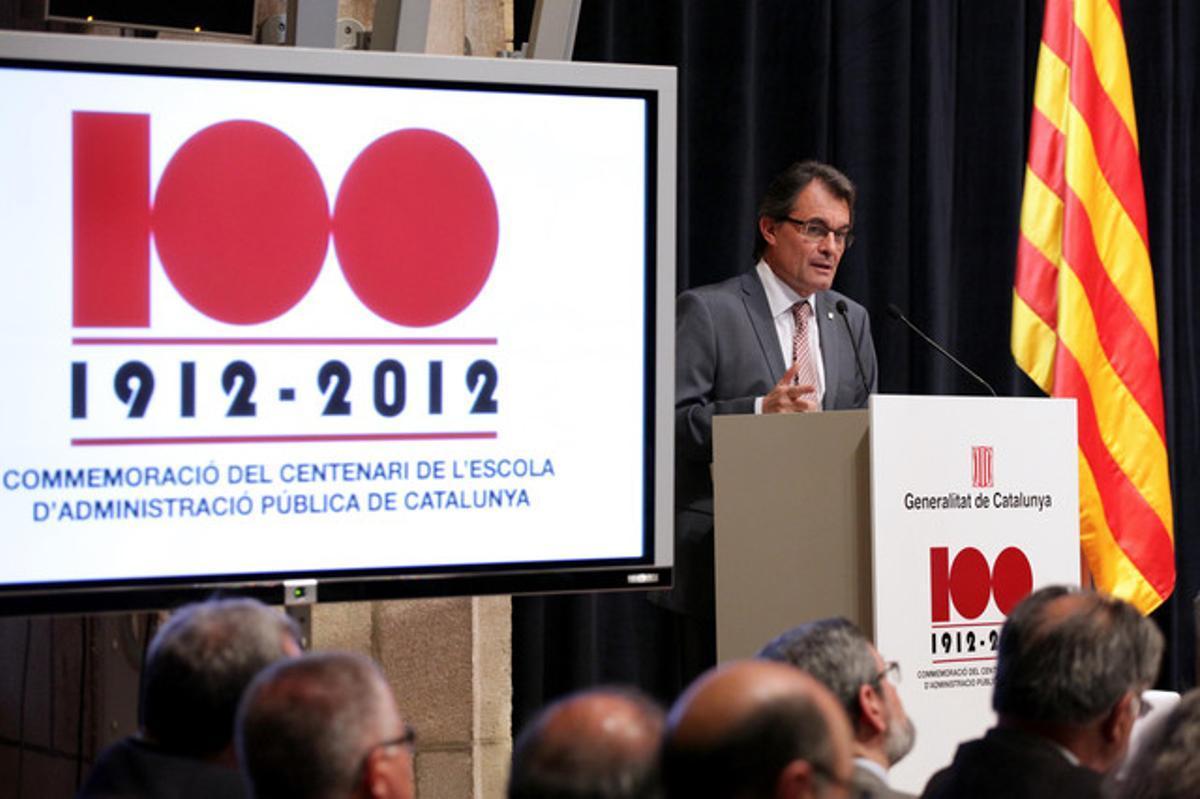 El presidente de la Generalitat, Artur Mas, este lunes en el centenario de la Escola d'Administració Pública de Catalunya.