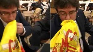 En el vídeo se ve a Víctor Moreno anunciando que le vamos a hacer besar la bandera española con dos cojones.