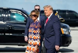 Melania y Donald Trump, a su llegada a Palm Beach (Florida).