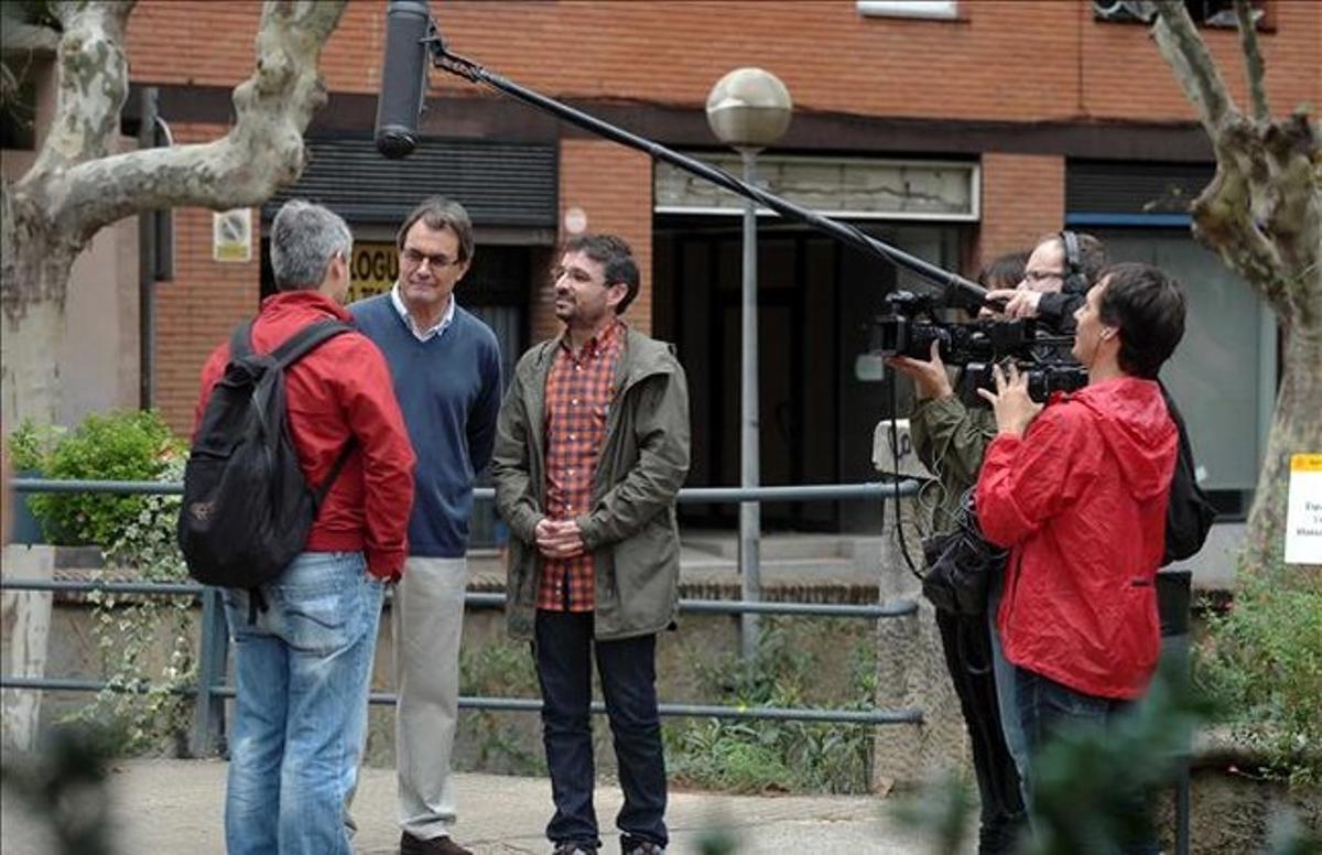 Artur Mas y Jordi Évole, durante la grabación del programa.