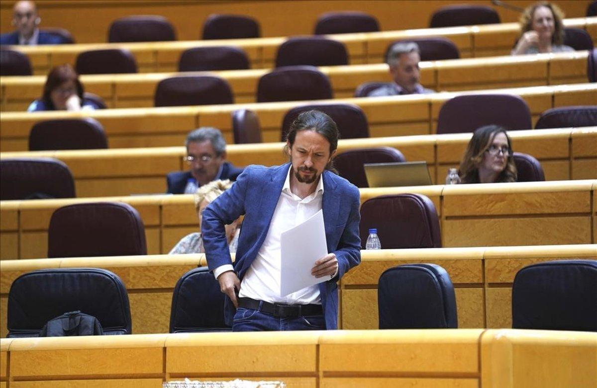 Interpelaciones al Gobierno en el Senado , en la imagen Pablo Iglesias.