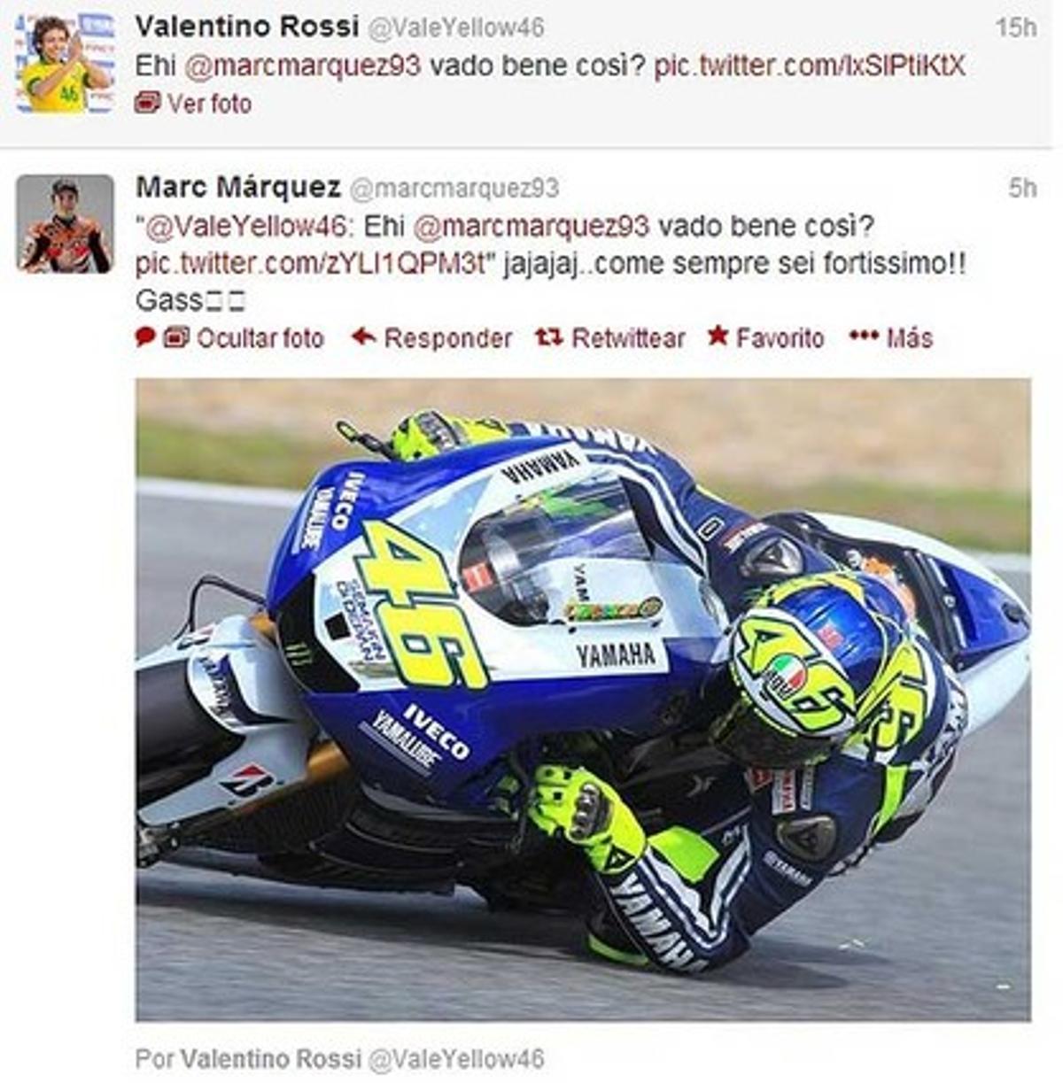 El intercambio de tuits entre Valentino Rossi y Marc Márquez.