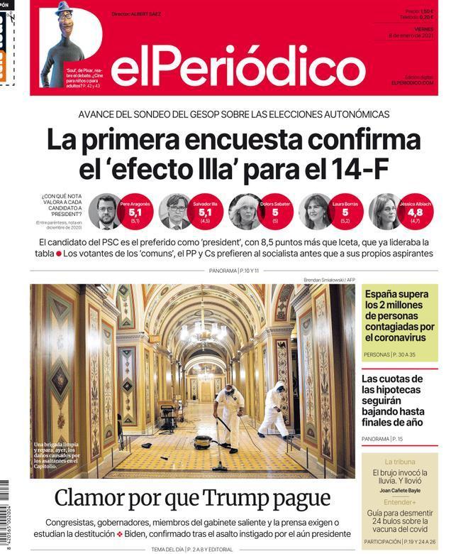 La portada de EL PERIÓDICO del 8 de enero del 2021
