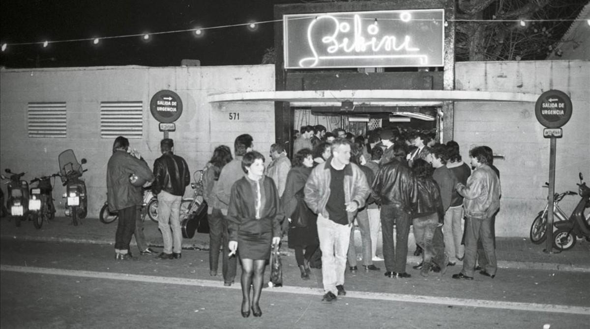 La entrada de la antigua sala Bikini, en la Diagonal, en enero de 1990.