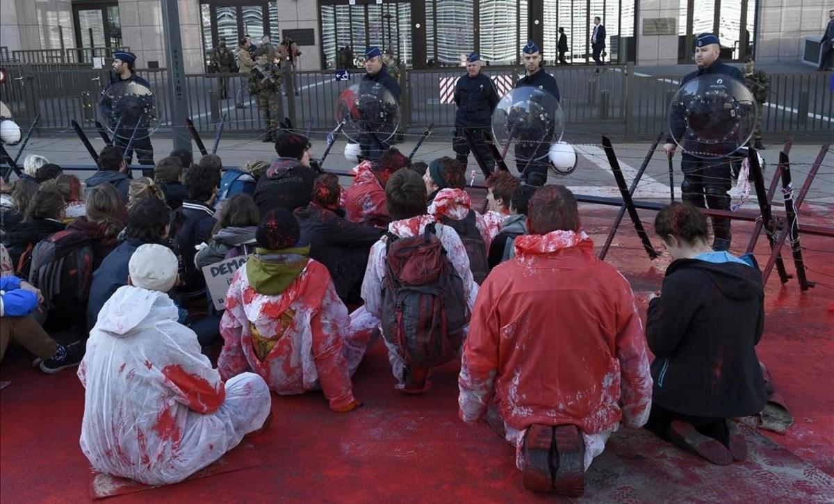 Manifestación contra la firmadel CETA en Bruselas.