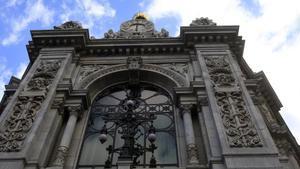 Detalle de la fachada del Banco de España.