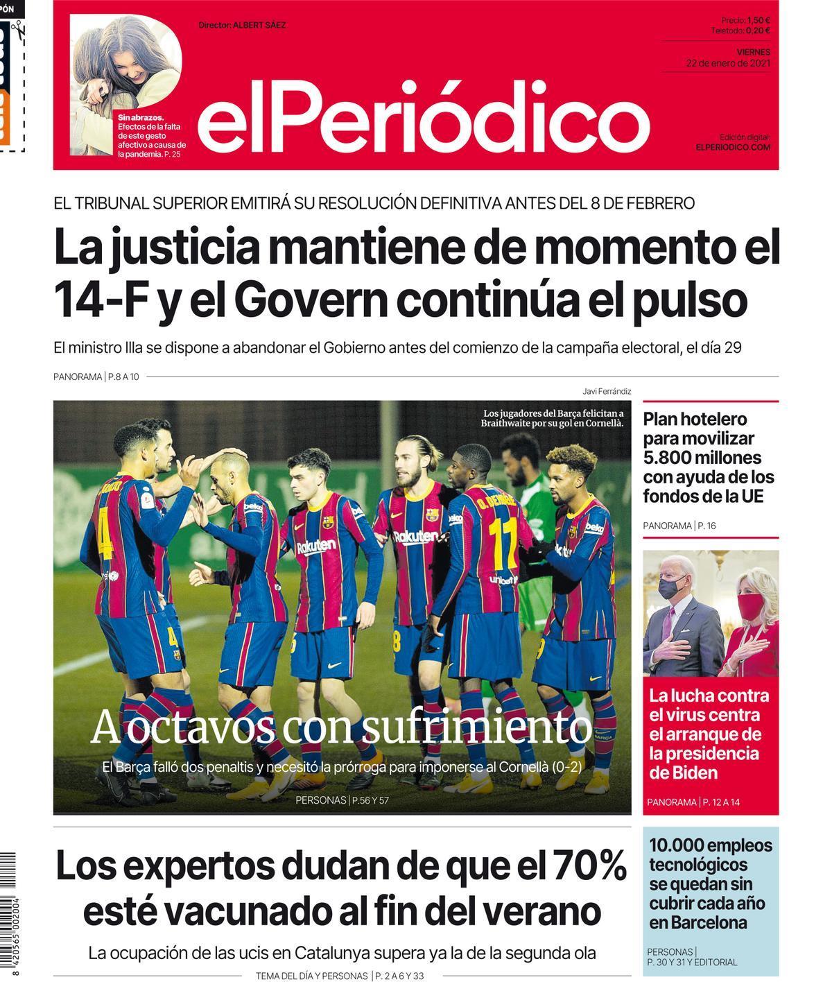 La portada de EL PERIÓDICO del 22 de enero de 2021