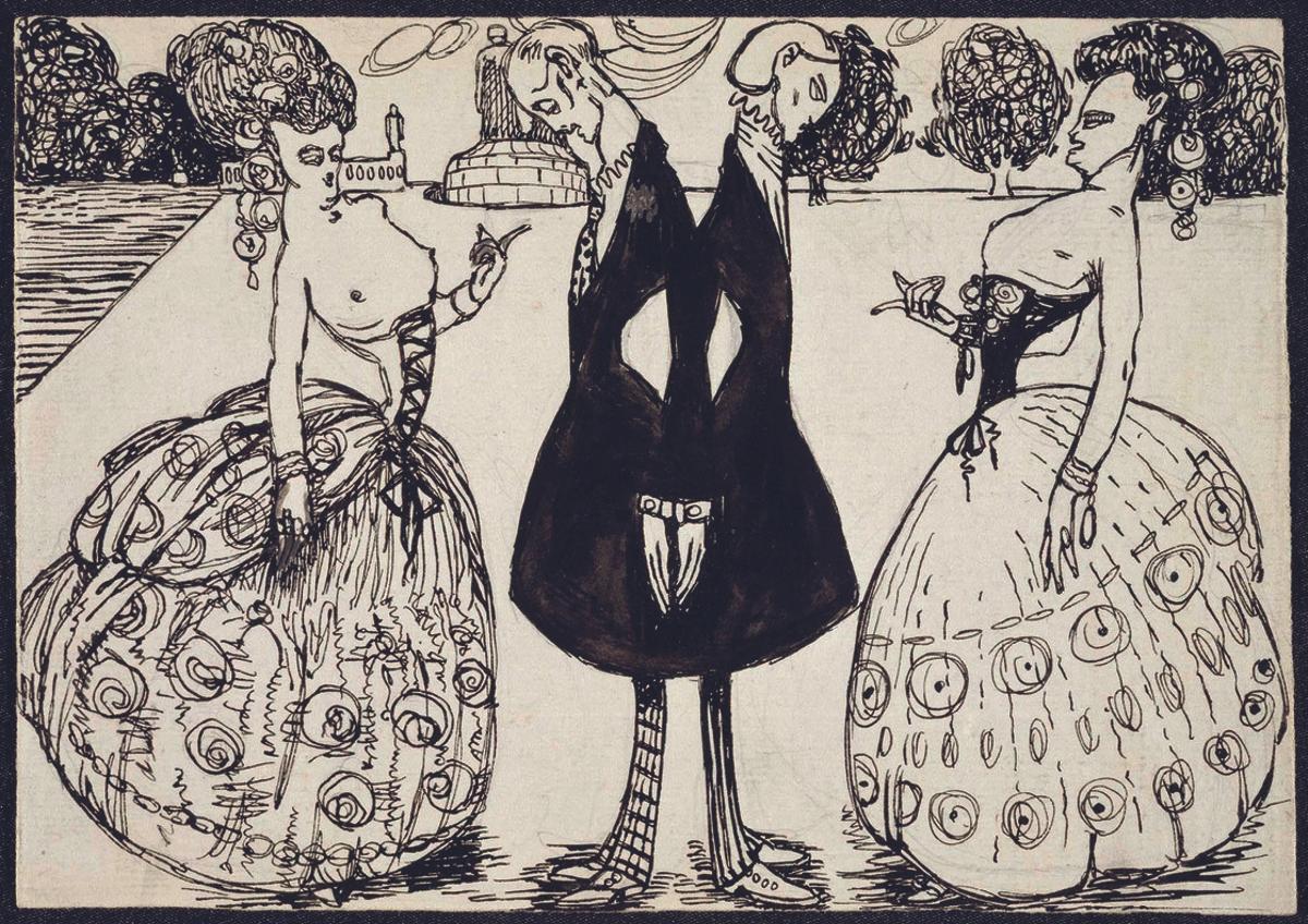 Ilustración satírica deIsmael Smith (hacia1908), procedente delMuseo Nacional deArteReina Sofía, en la exposición del MNAC.