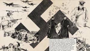 Doble pàgina de la versión gráfica de 'La segunda guerra mundial', de Antony Beevor.