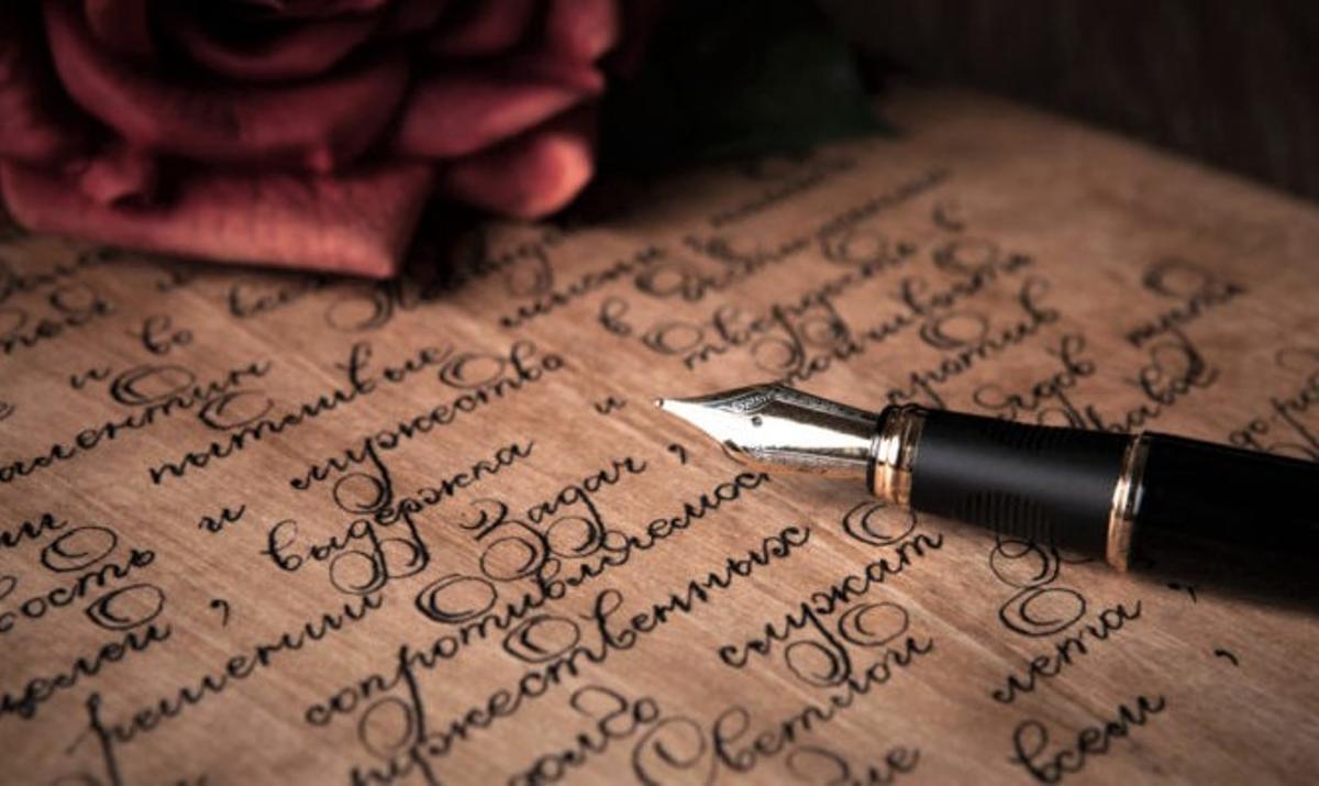 Un poema escrito a pluma.