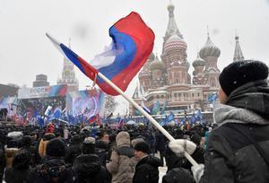 Manifestación en Moscú (3 de febrero), a favor de los deportistas rusos.