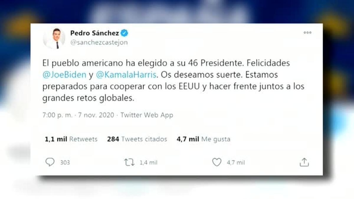 El presidente del Gobierno Español, Pedro Sánchez, felicitó este sábado a Joe Biden por su elección como presidente de Estados Unidos y mostró su deseo de cooperar con ese país.