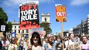 Manifestación contra el Gobierno de Theresa May en Londres.
