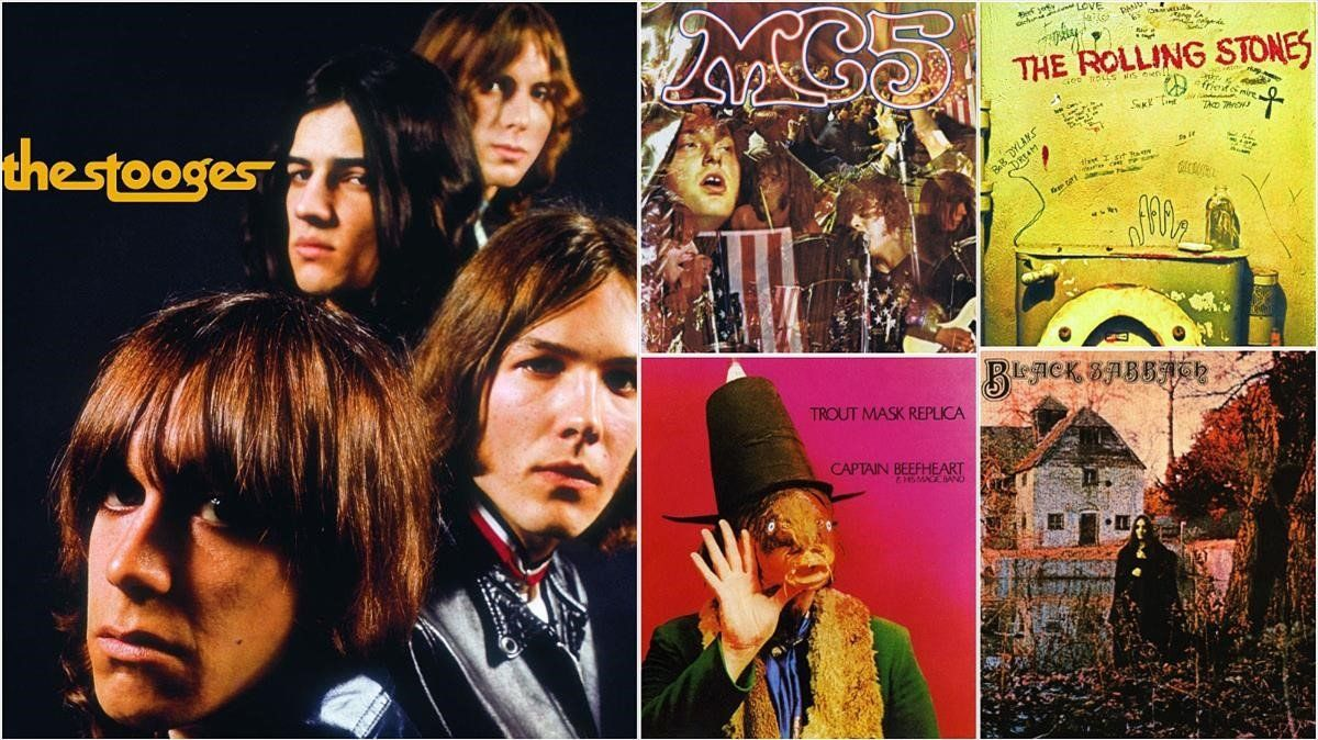 Portadas de 'The Stooges' de The Stooges; 'Kick out the jams', de MC5; 'Beggars banquet', de The Rolling Stones; 'Trout mask replica', de Captain Beefheart, y 'Black Sabbath', de Black Sabbath.