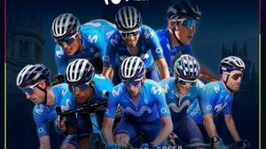 El cartel con los ocho corredores del Movistar para la Vuelta.