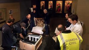 El interior del Museu de Lleida el 11 de diciembre del 2017, noche en la que la Guardia Civil irrumpió en el centro en busca de las piezas de Sijena que custodiaba el museo.