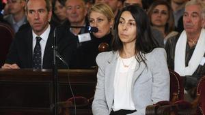 Raquel Gago declara en la Audiencia provincial de León, el martes.