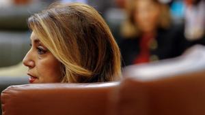 La líder del PSOE andaluz, Susana Díaz, durante una sesión en el Parlamento regional.