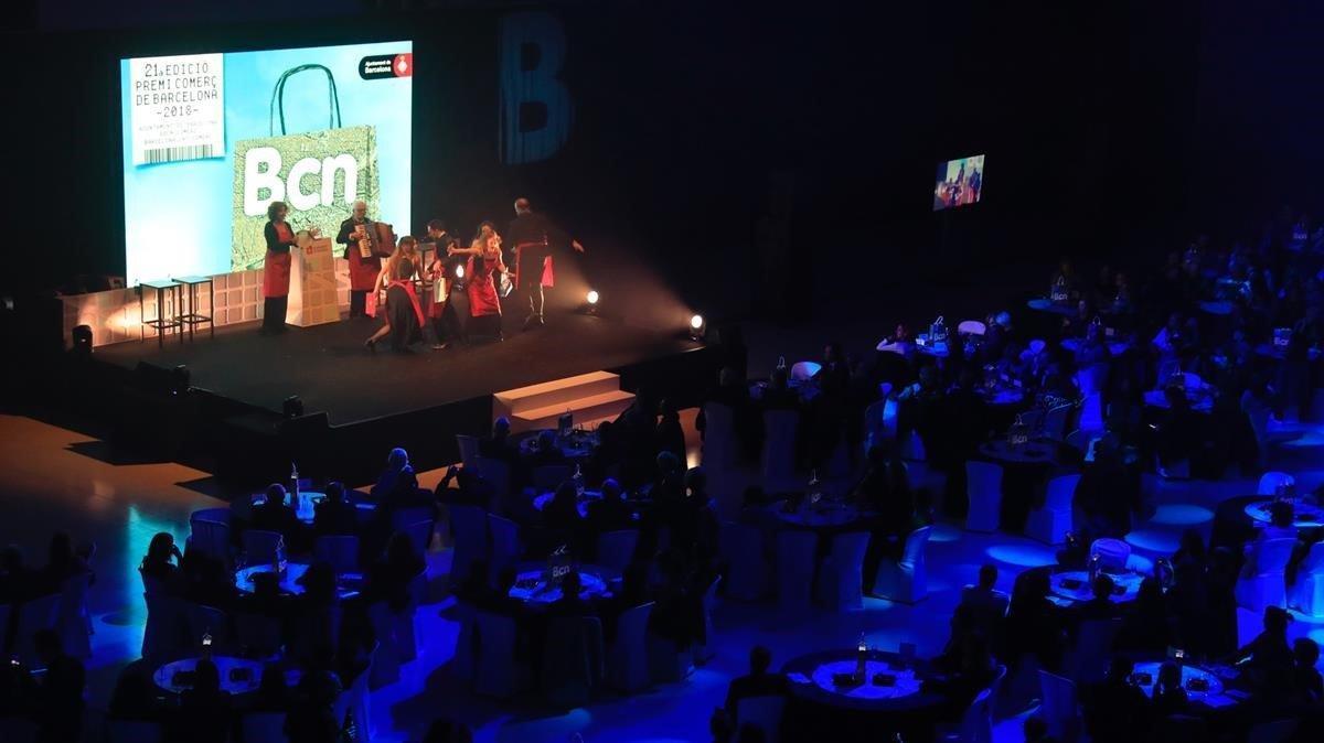 Entrega de los premios Comerç de Barcelona en la Sala Oval del MNAC, este miércoles.