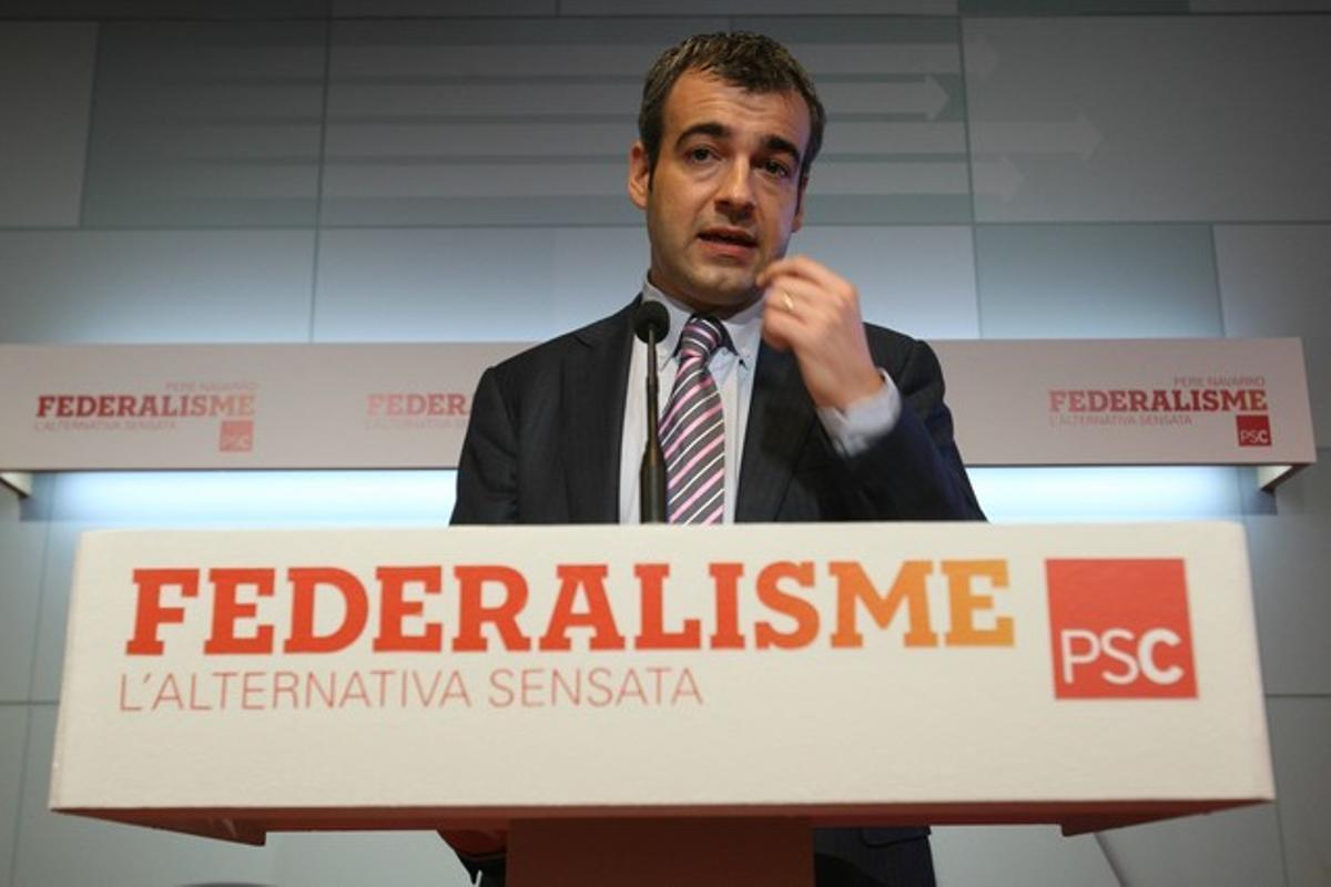 Maurici Lucena, durante una rueda de prensa en la sede delPSC.