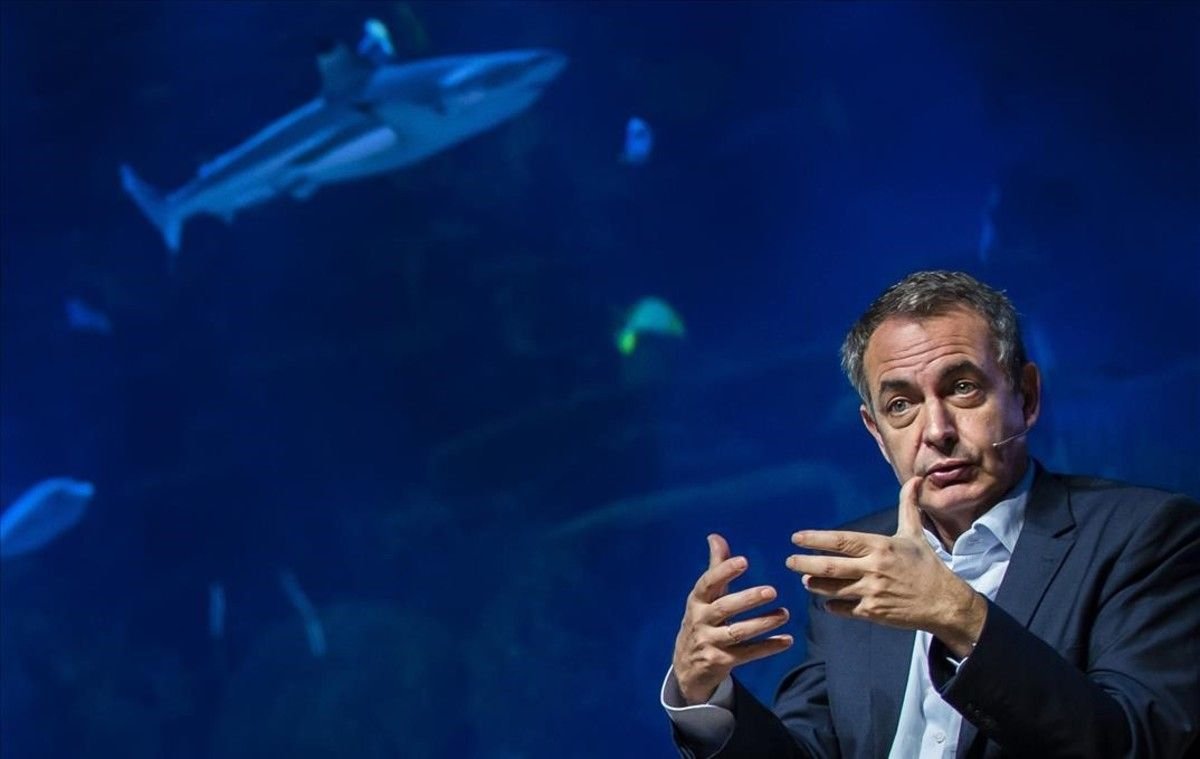 El expresidente del Gobierno José Luis Rodríguez Zapatero, en el Foro Global Sur que se celebra este viernes en València.